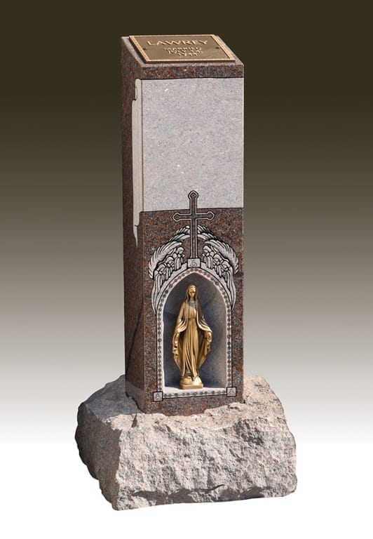 Statue within a Cremation Pillar - Cremation Memorial Ideas