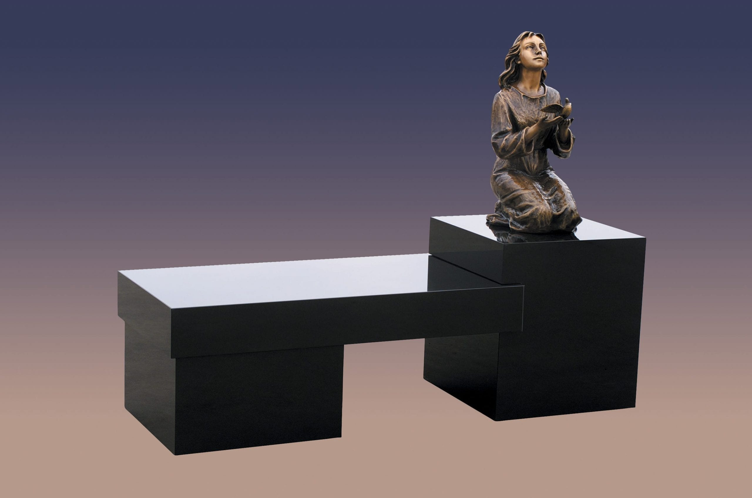 Cremation Bench With Statue
