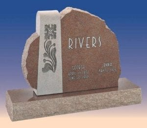 Rivers Asymmetrical Headstone
