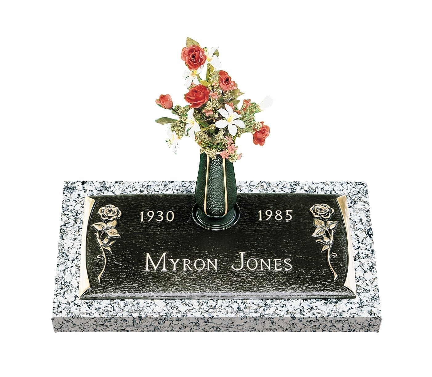 Jones Roses Bronze Gravestone