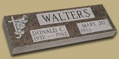 Granite Memorials For Two People: Walters Faithful Flat Monument