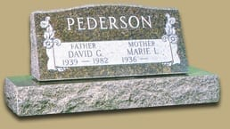 Granite Memorials For Two People: Pederson Slanted Upright Memorial