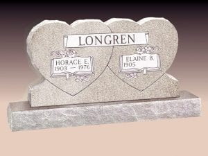 Longren Double Heart Upright Headstone